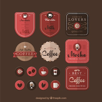 Variety of coffee badges