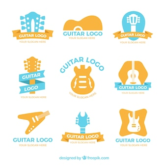 Variety of colored guitar logos in flat design
