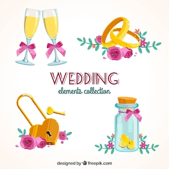 Variety of colored wedding elements