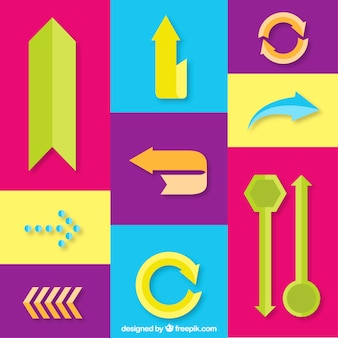 Variety of colorful arrows in flat design