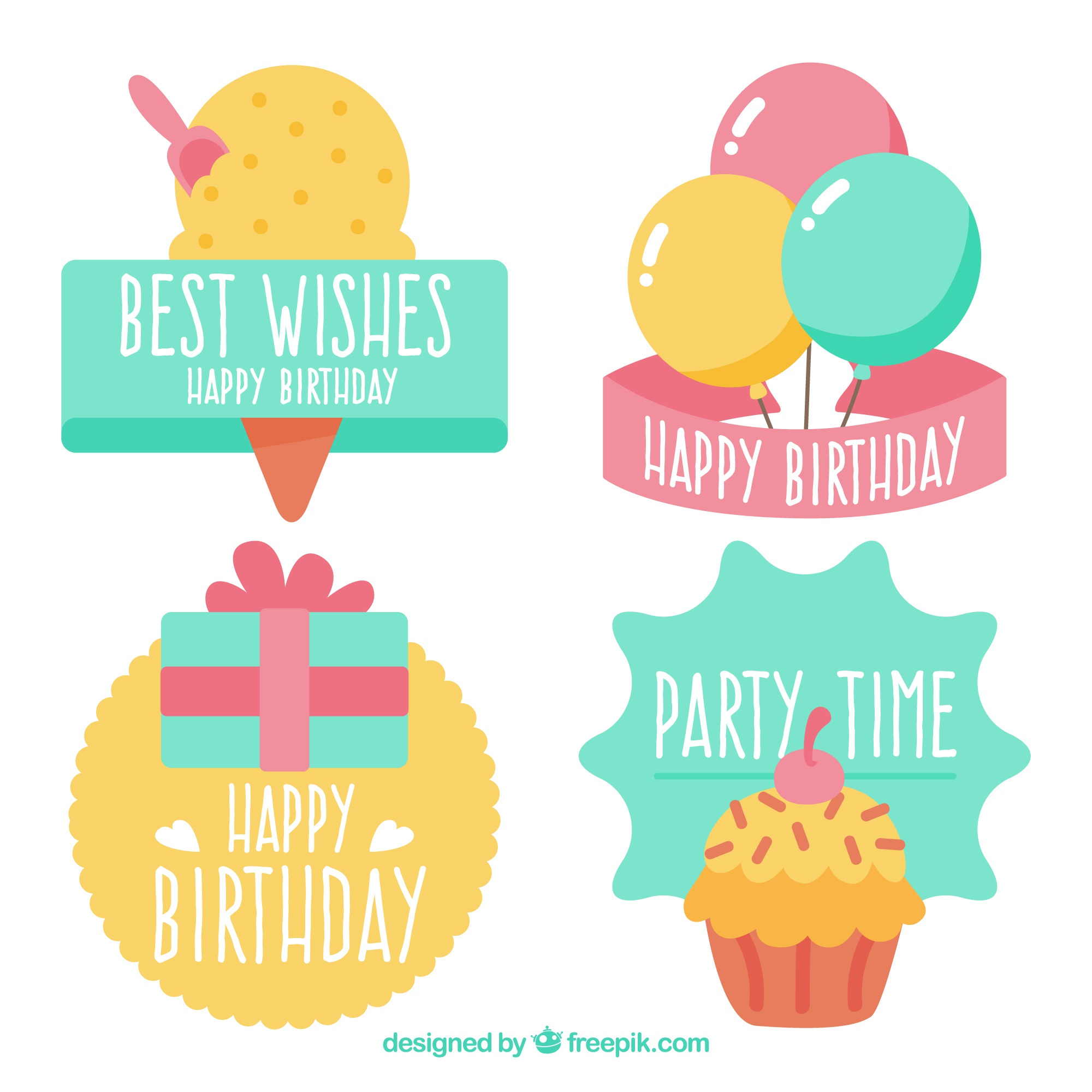 Variety of colorful birthday stickers