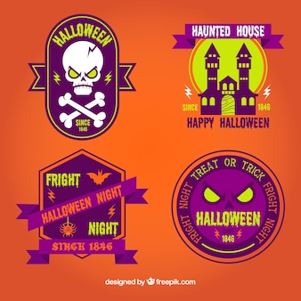 Variety of colorful halloween badges