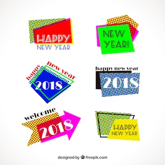 Variety of colorful retro new year stickers