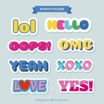 Variety of colorful word stickers
