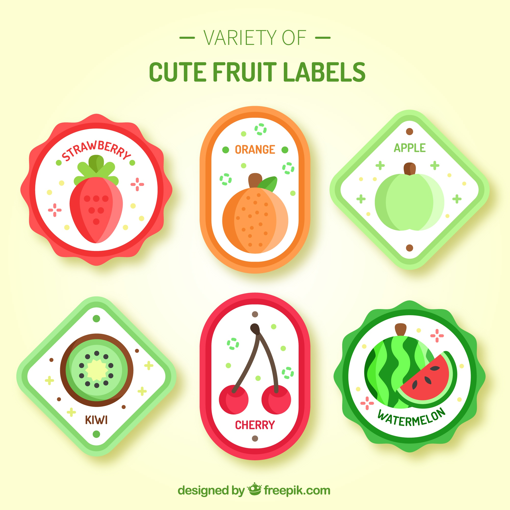 Variety of cute fruit labels