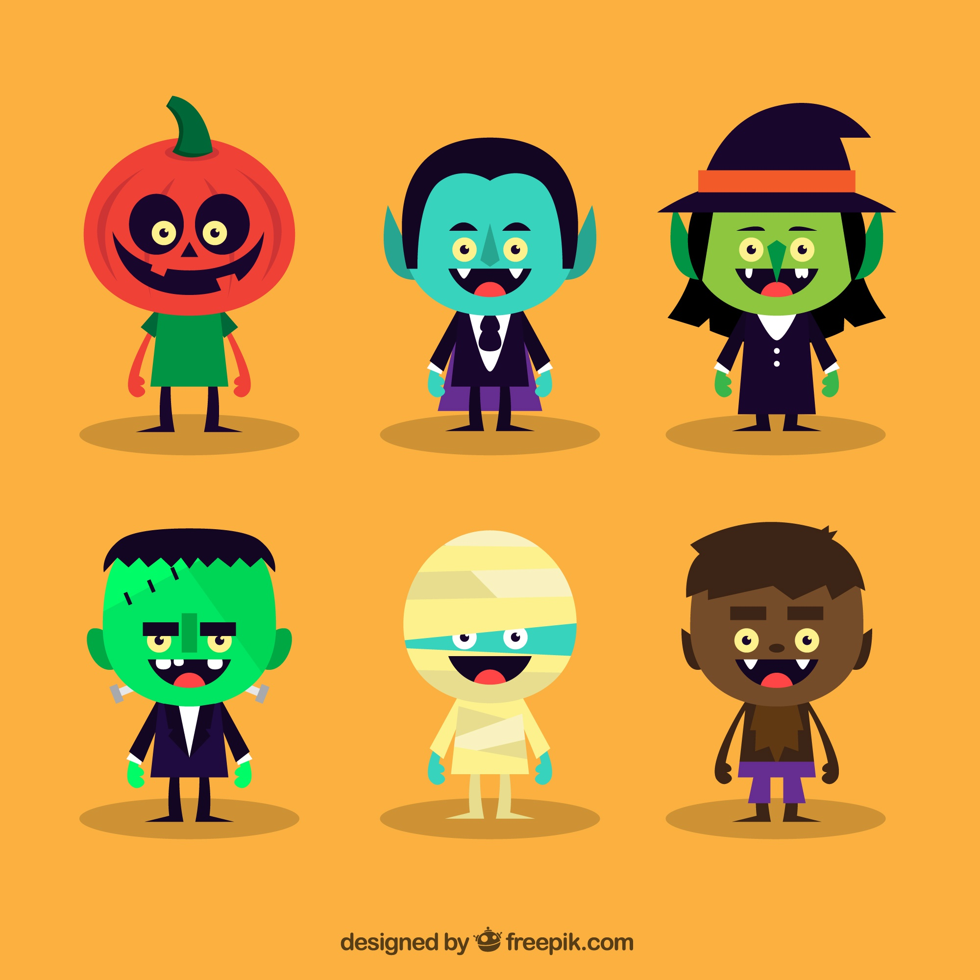 Variety of cute halloween characters