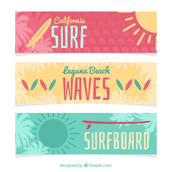 Variety of cute surf banners