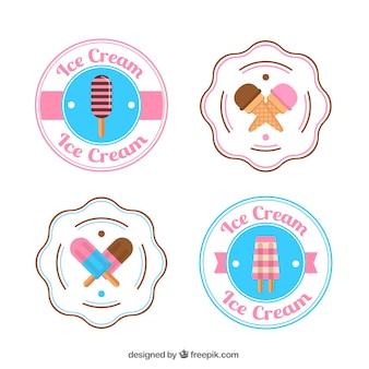 Variety of decorative ice cream labels