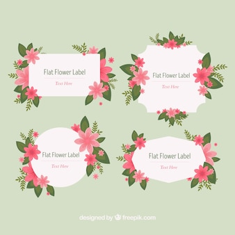 Variety of decorative stickers with pink flowers