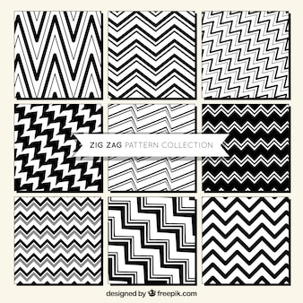 Variety of decorative zig zag patterns