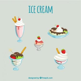 Variety of delicious ice-cream desserts set