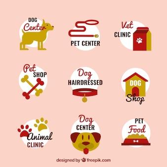 フラットデザインの様々な犬のロゴ