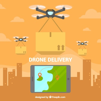 Variety of drones delivering in the city