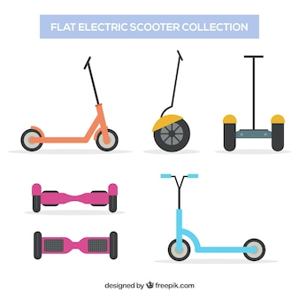 Variety of electric scooters with flat design