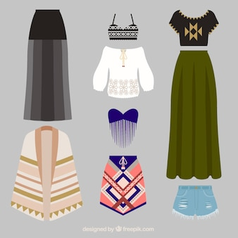 Variety of ethnic clothes