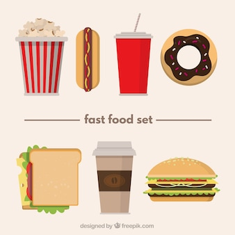 Variety of fast food in flat design