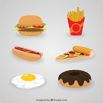 Variety of fast food