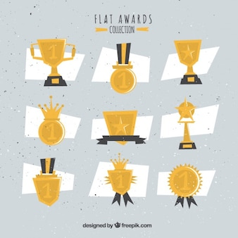 Variety of flat awards in vintage style