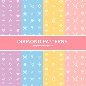 Variety of flat diamond patterns in pastel colors