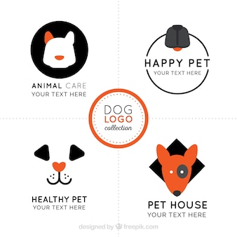 Variety of flat dog logos with orange details
