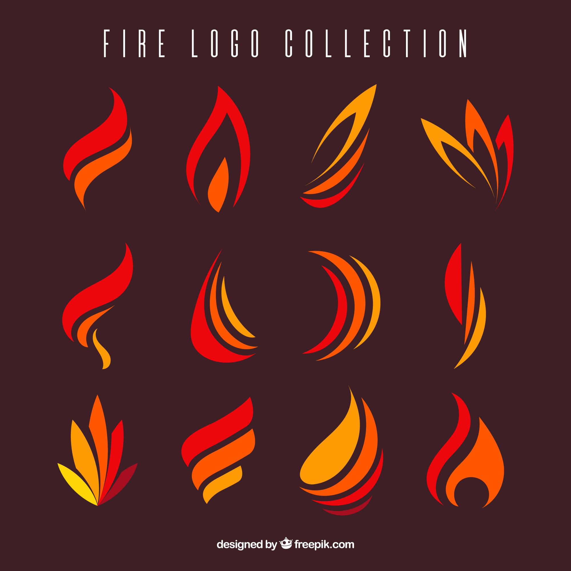Variety of flat flames for logos