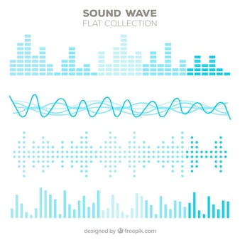 Variety of flat sound waves in blue tones