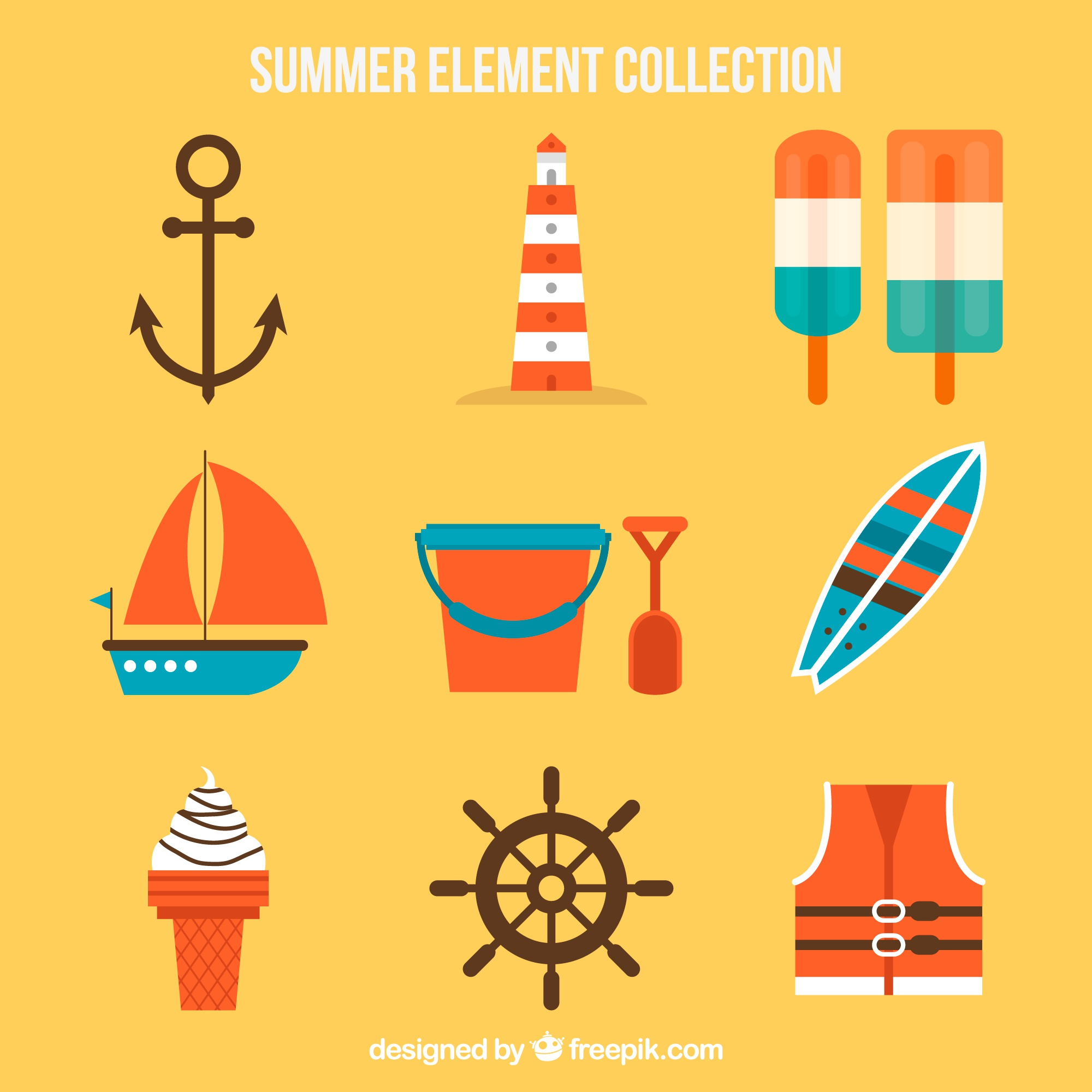 Variety of flat summer objects