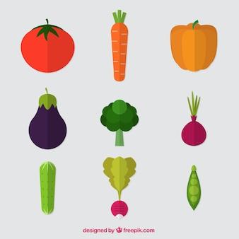 Variety of flat vegetables