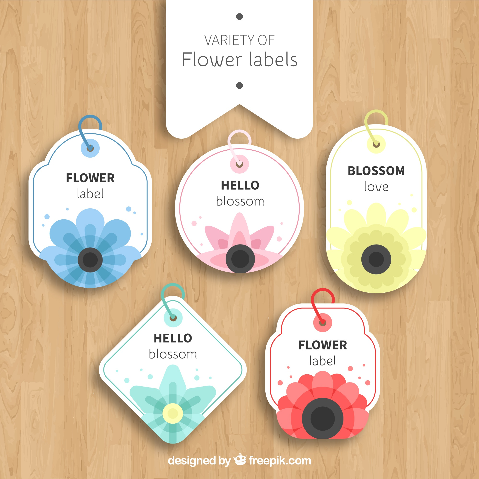 Variety of flower labels with flat design