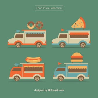 Variety of food trucks with retro style