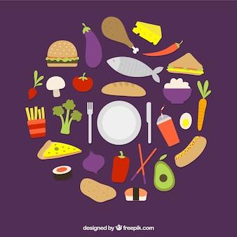 Variety of food