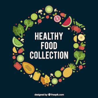 Variety of foodstuffs in flat design