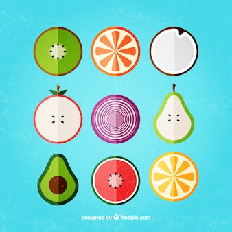 Variety of fruits in flat design