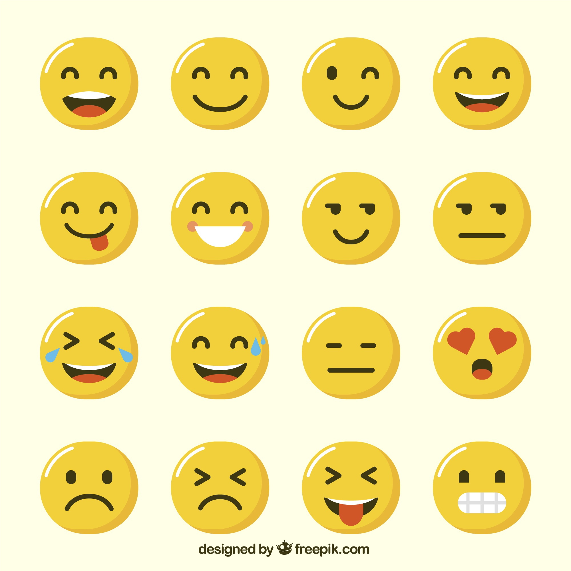 Variety of funny emoji in flat design