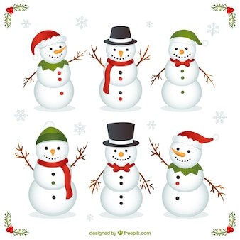 Variety of funny snowman