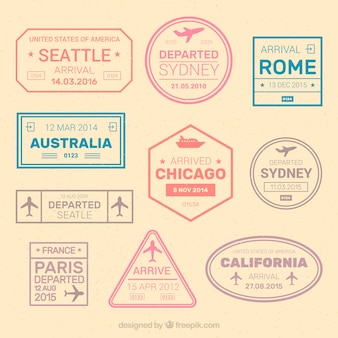 Variety of great city stickers in pastel colors