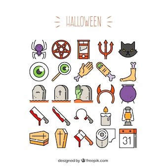 Variety of halloween icons
