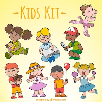 Variety of hand-drawn children with activities