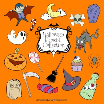 Variety of hand-drawn elements for halloween