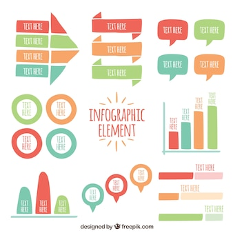 Variety of hand-drawn infographic elements with different colors