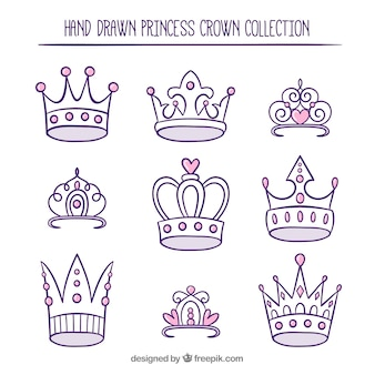 Variety of hand-drawn princess crowns with pink details
