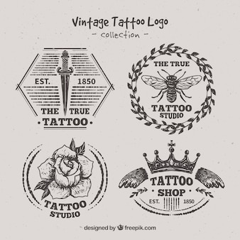 Variety of hand drawn tattoo logos