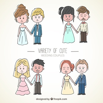 Variety of hand-drawn wedding couples
