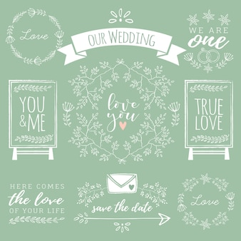 Variety of hand-drawn wedding elements