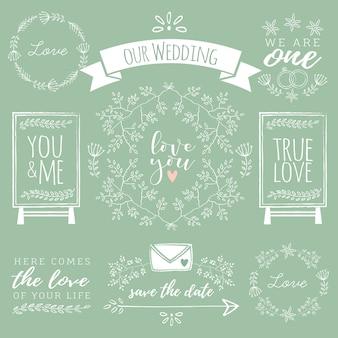 Variety of hand-drawn wedding elements
