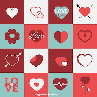 Variety of heart icons