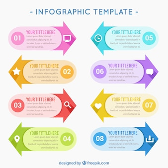 Variety of infographic arrows in colors