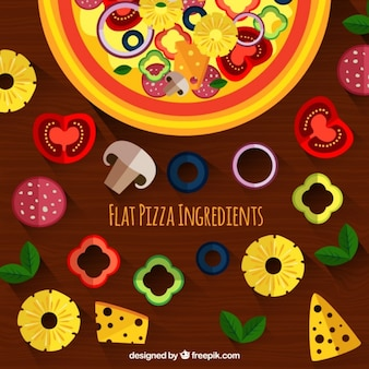 Variety of ingredients and pizza in flat design background