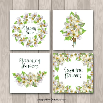 Variety of jasmine cards with watercolor style