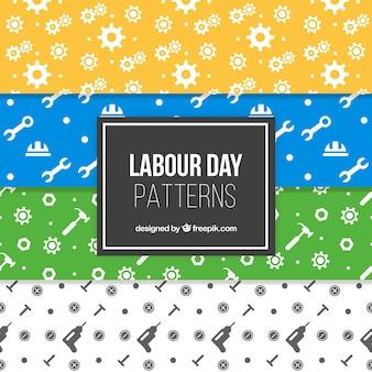 フラットデザインのツールを使用したさまざまな労働日パターン